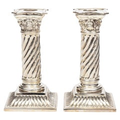 Pair of English Silver Plate Classical Style Candlesticks