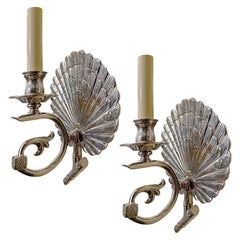 Pair of English Silver Plated Sconces