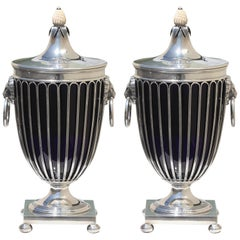 Pair of English Silver Vases and Covers
