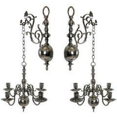 Pair of English Silver Wall Chandeliers