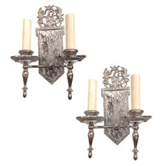 Pair of English Silvered Bronze Sconces
