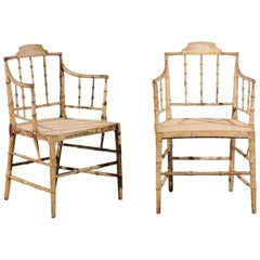 Pair of English Stripped Faux Bamboo Armchairs, New Cane Seats, circa 1830