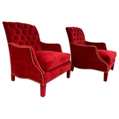 Pair of English Style Armchairs with Tufted Backs, Upholstered in Red Velvet