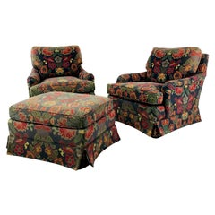 Pair of English Style Lounge Chairs with Ottoman by Baker Furniture Co.