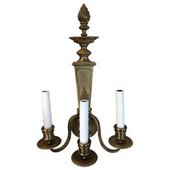 Pair of English Three-Light Bronze Sconces with Flame Top Motif, 20th Century