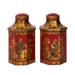 Pair of English Tole Tea Canisters