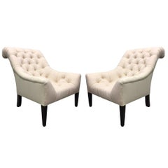Pair of English Tufted Edwardian Style Lounge Chairs