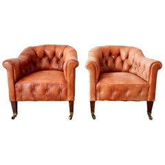Pair of English Tufted Leather Chesterfield Club Chairs