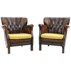 Pair of English Tufted Leather Library Chairs
