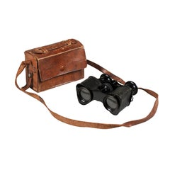 Pair of English Turn of the Century 1900s Binoculars with Original Leather Case