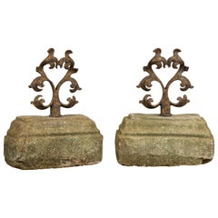Pair of English Turn of the Century Iron and Stone Door Stops with Scrolls
