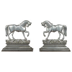 Pair of English Turn of the Century Metal Bookends Depicting Prancing Horses