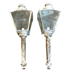 Pair of English Verdigrises' Brass Coach Lamps/Sconces