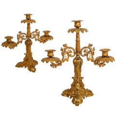 Pair of English Victorian Antique Gilt-Bronze Three-Light Candelabras
