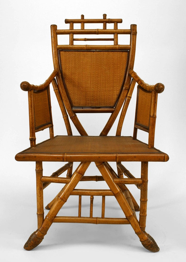 Pair of English Victorian Bamboo Shield-Back Armchairs For ...