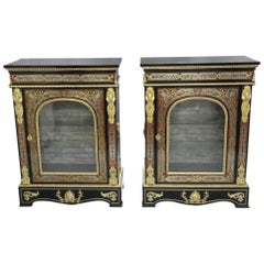 Pair of English Victorian Boulle Side Cabinets in the Louis XIV Style