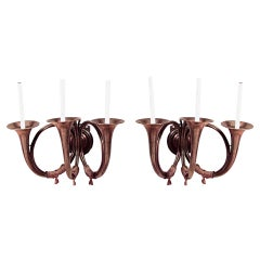 Pair of English Victorian Brass Horn Wall Sconces