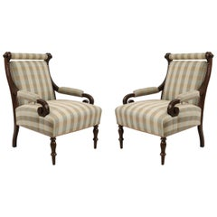 Pair of English Victorian Carved Mahogany and Striped Upholstered Armchairs