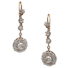 Pair of English Victorian Diamond Earrings in Silver on Gold Setting, circa 1880
