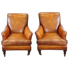 Pair of English Victorian Leather and Mahogany Club Library Chairs, circa 1890