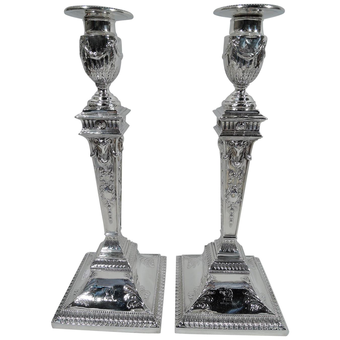 Pair of English Victorian Neoclassical Sterling Silver Candlesticks
