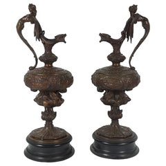 Pair of English Victorian Renaissance Revival Cast Bronze Ewers