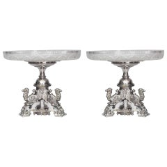 Pair of English Victorian Silver Plated Centrepieces
