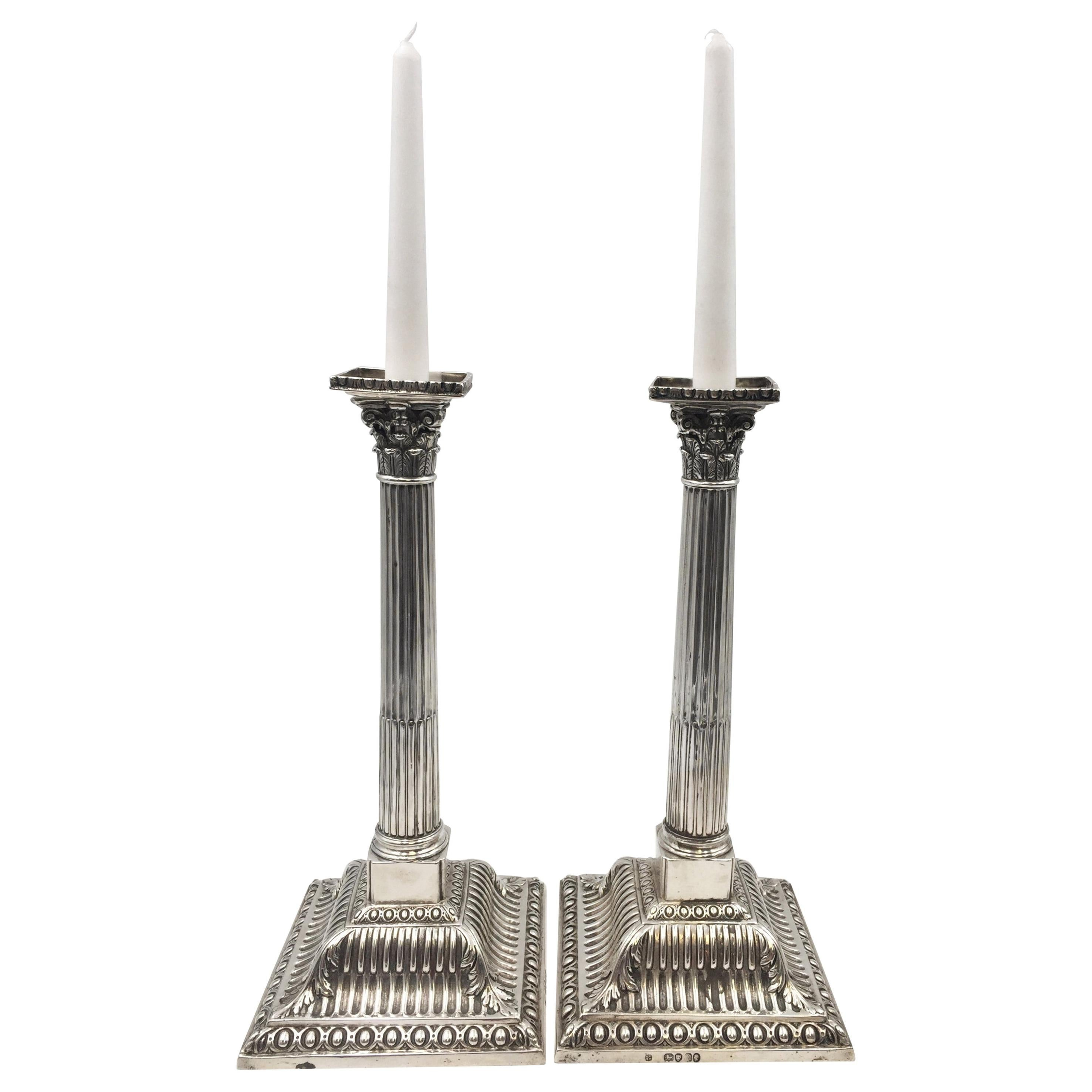 Pair of English Victorian Sterling Silver 1867 Candlesticks as Classical Columns