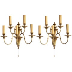 Pair of English Victorian Style Gilt Brass Five-Light Electrified Wall Sconces