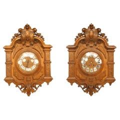 Pair of English Victorian Walnut Wall Clock & Barometer