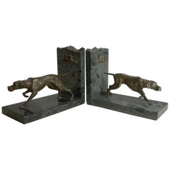 Pair of English Vintage Granite and Spelter Dog Bookends, Pointer