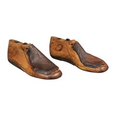 Pair of English Vintage Wood and Leather Handmade Cobbler's Shoe Lasts