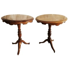 Pair of English Walnut End or Side Tables Luis Felipe Style