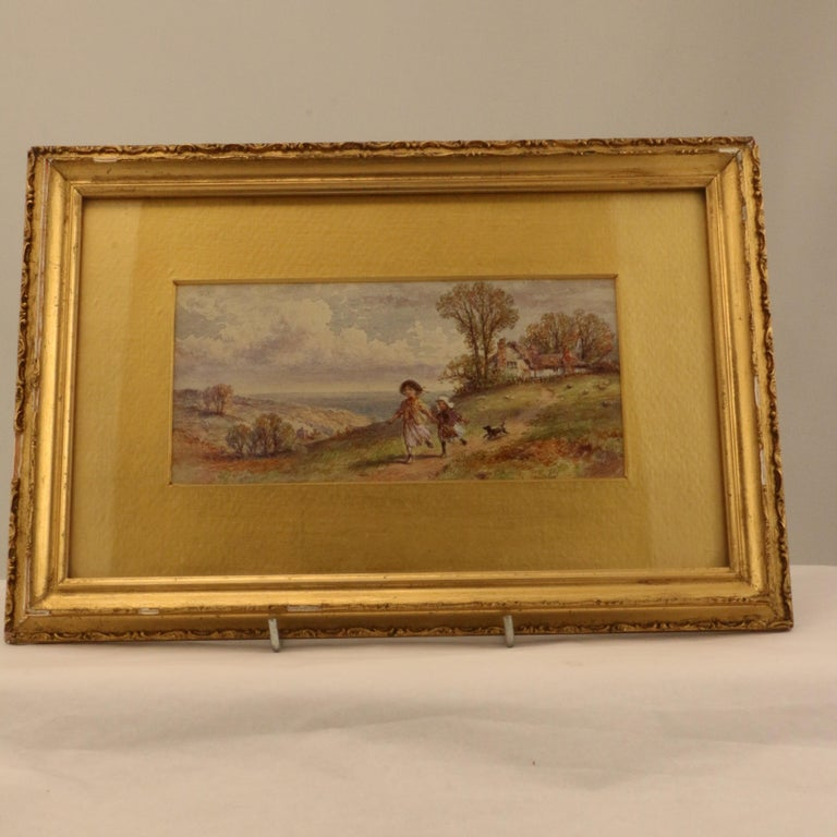 Victorian Pair of English Watercolors, Country Scenes For Sale