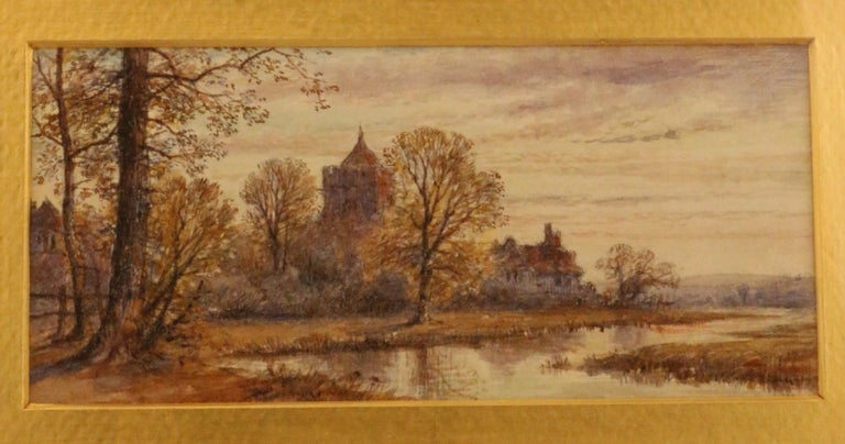 British Pair of English Watercolors, Country Scenes For Sale