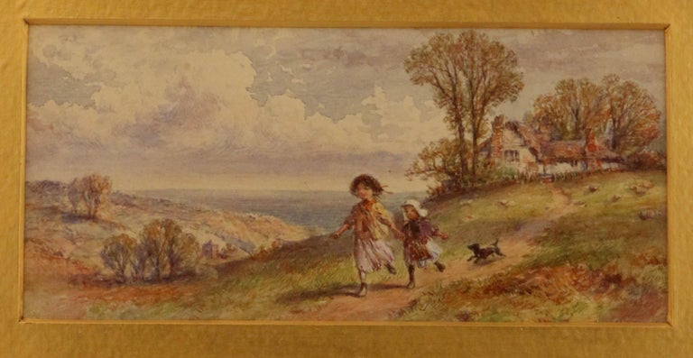 Hand-Painted Pair of English Watercolors, Country Scenes For Sale