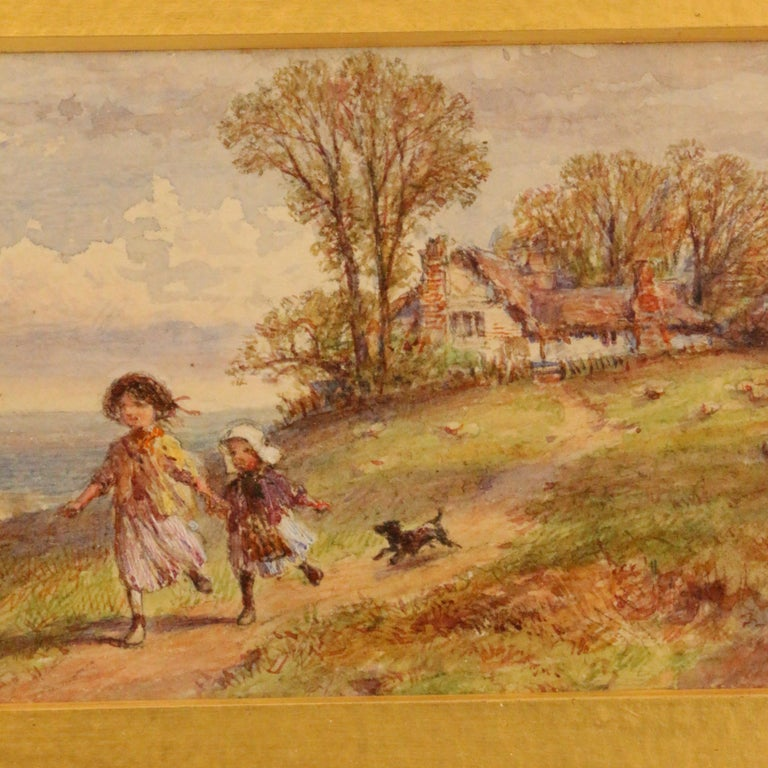 Pair of English Watercolors, Country Scenes In Good Condition For Sale In Montreal, QC