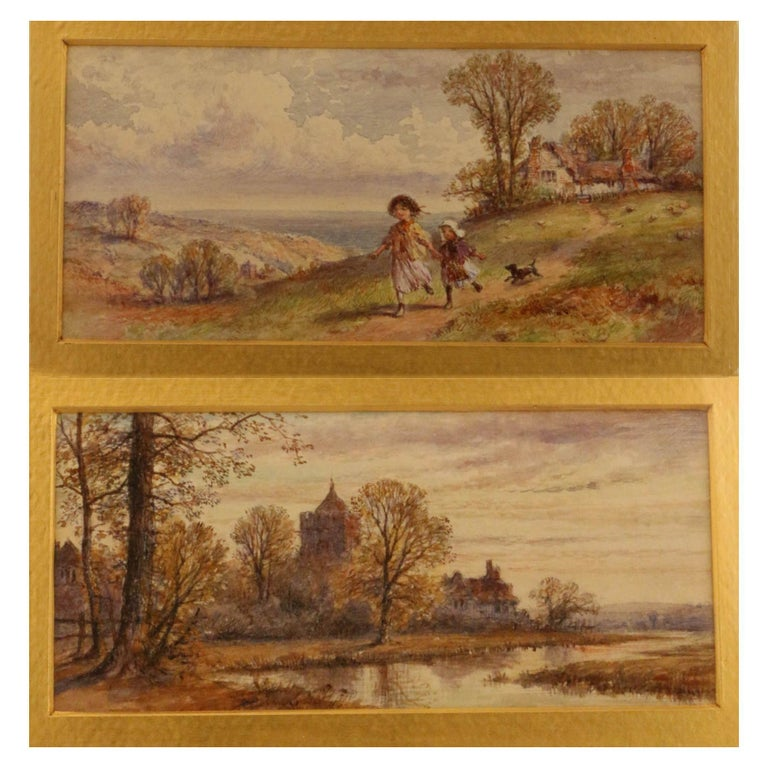Pair of English Watercolors, Country Scenes For Sale