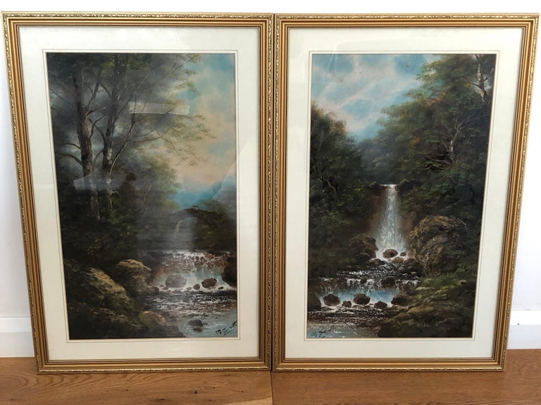 A pair of early 20th century English landscapes. Watercolor on board, fair condition behind glass. Signed G Scott
