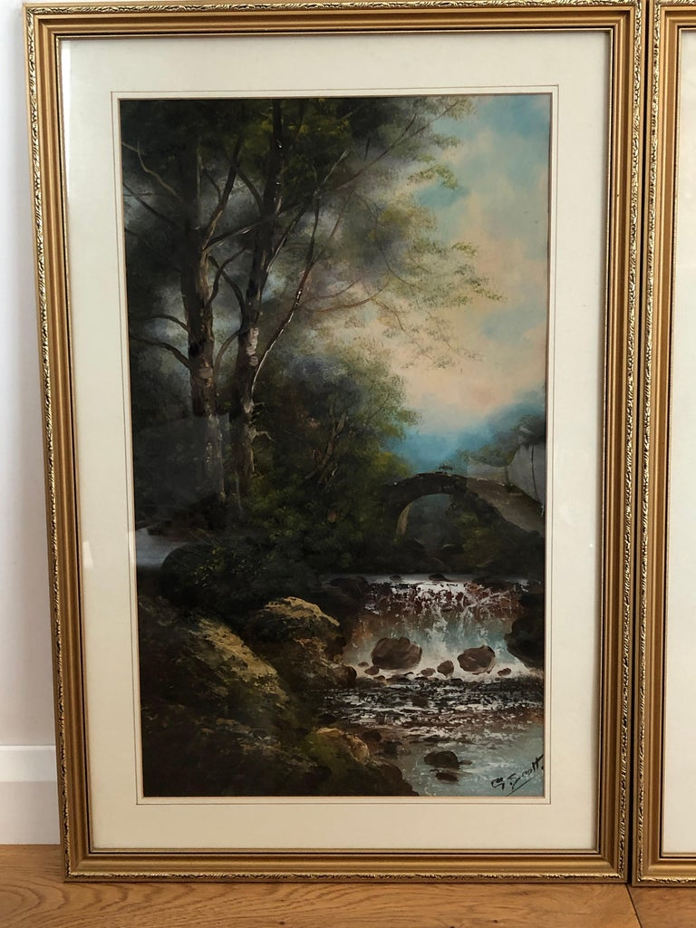 High Victorian Pair of English Watercolours by G Scott For Sale
