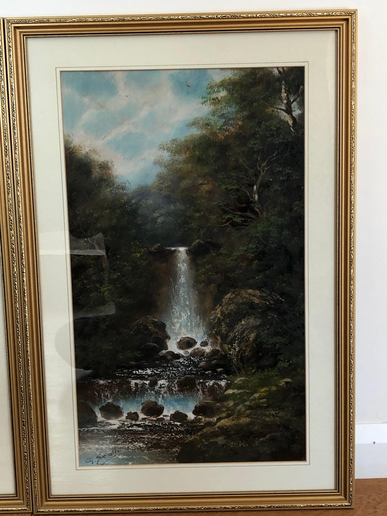 Brushed Pair of English Watercolours by G Scott For Sale