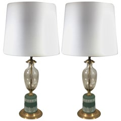 Pair of English Wedgewood and Cut Crystal Lamps
