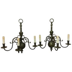 Pair of English Williamsburg Cast Brass Three Light Sconces, Late 19th Century
