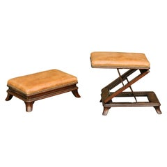 Pair of English Wooden Metamorphic Footstools with Leather Tops, circa 1860