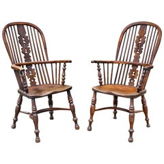 Pair of English Yewwood Windsor Armchairs