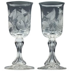 Pair of Engraved 19th Century Richardson Glass Wine Goblets, circa 1880