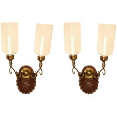 Pair of Engraved Anglo-Indian Two-Light Sconces