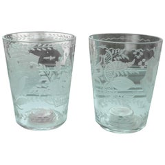Pair of Engraved Armorial Beakers with Dice and Coin