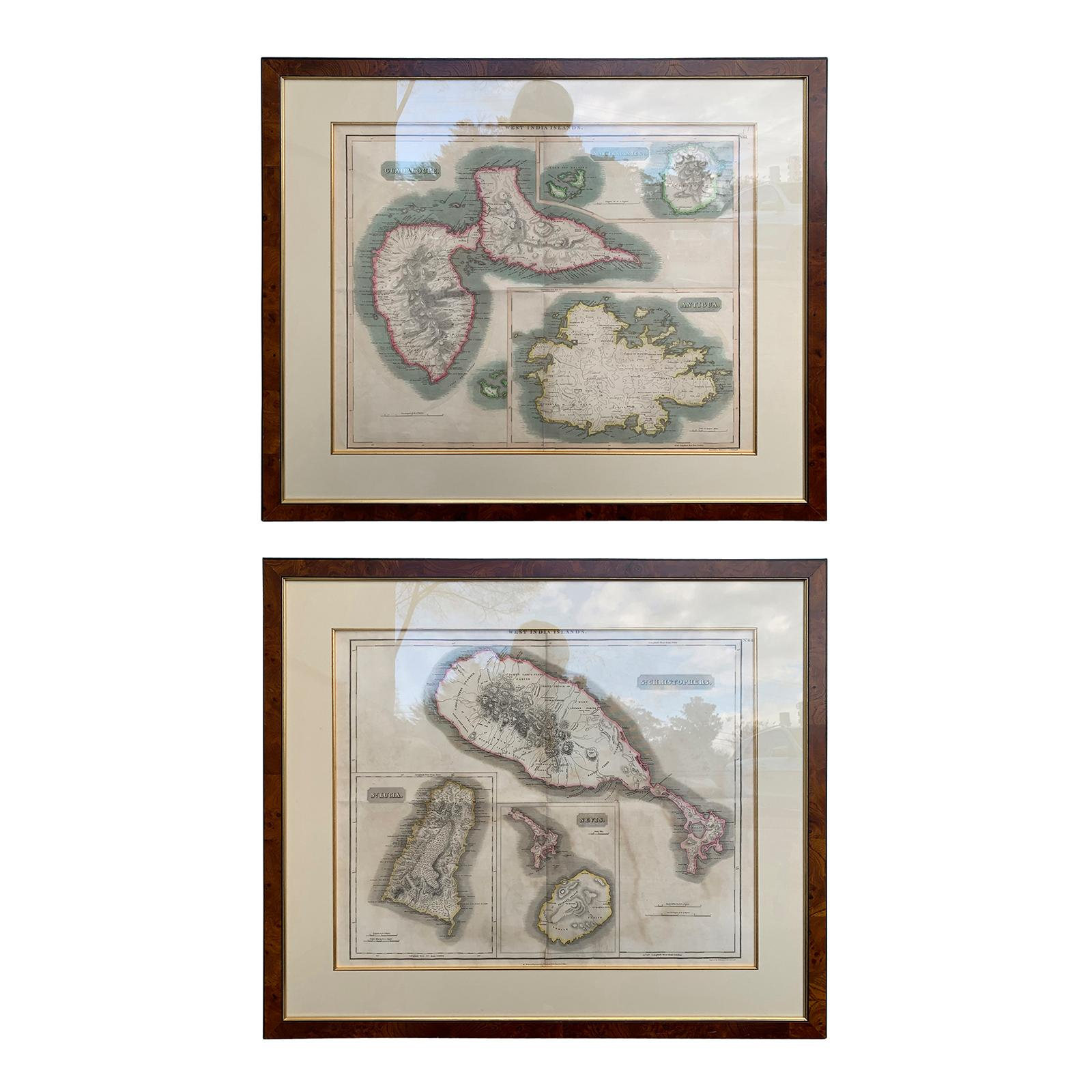 Pair of Engraved Maps by Kirkwood & Son of Edinburgh of West India Islands