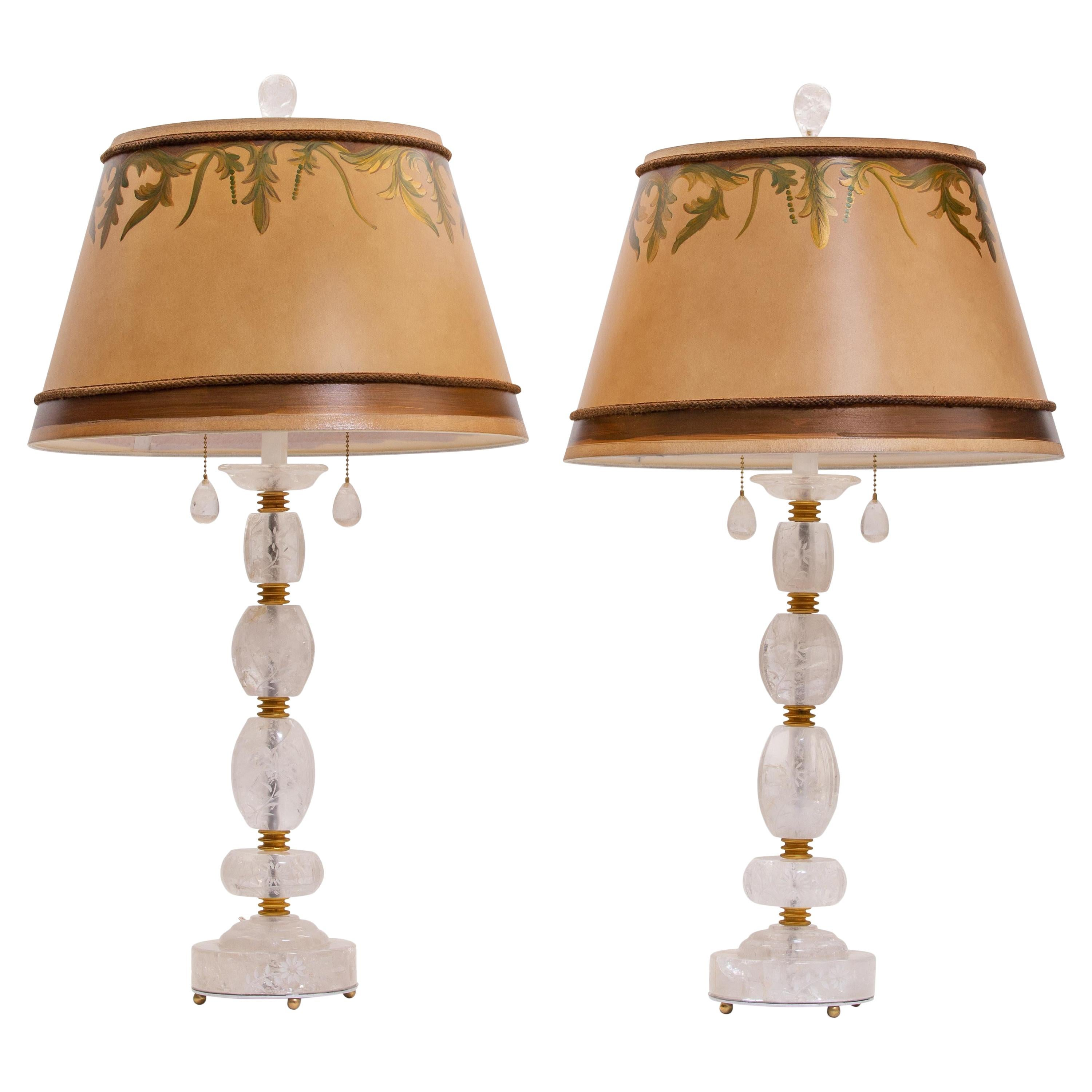 Pair of Engraved Rock Crystal Table Lamps